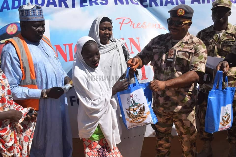 HUMANITARIAN SUPPORT: NAF PRESENTS DIGNITY PACKS TO YOUNG GIRLS IN DALORI, BAMA IDP CAMPS IN BORNO STATE